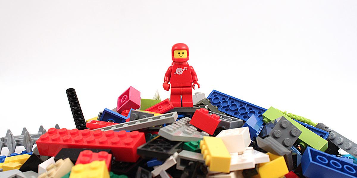Lego figure on Lego blocks